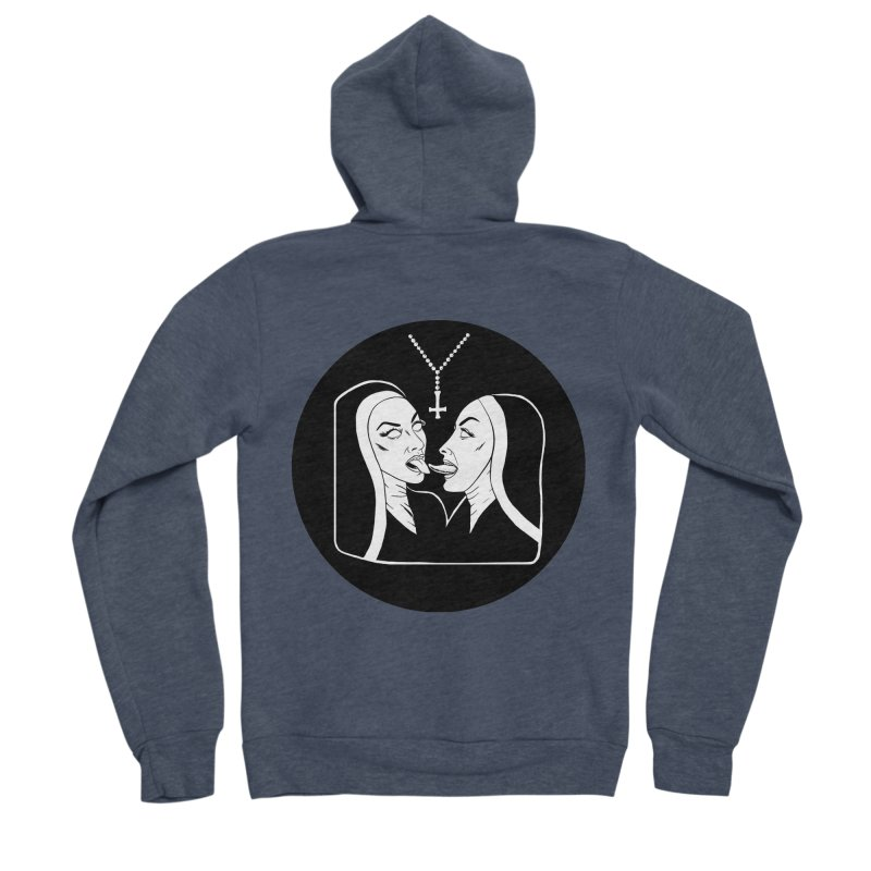 TONGUING NUNS CIRCLE Women's Sponge Fleece Zip-Up Hoody by Hate Baby Comix Artist Shop