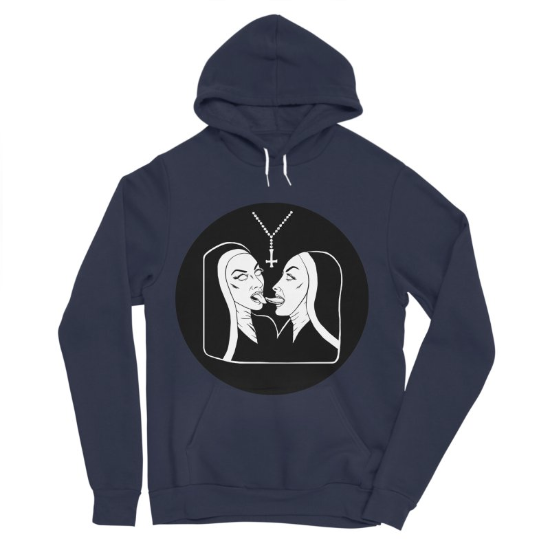 TONGUING NUNS CIRCLE Men's Sponge Fleece Pullover Hoody by Hate Baby Comix Artist Shop