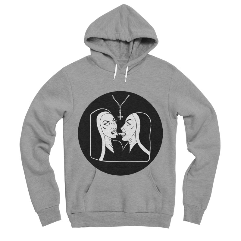TONGUING NUNS CIRCLE Women's Sponge Fleece Pullover Hoody by Hate Baby Comix Artist Shop