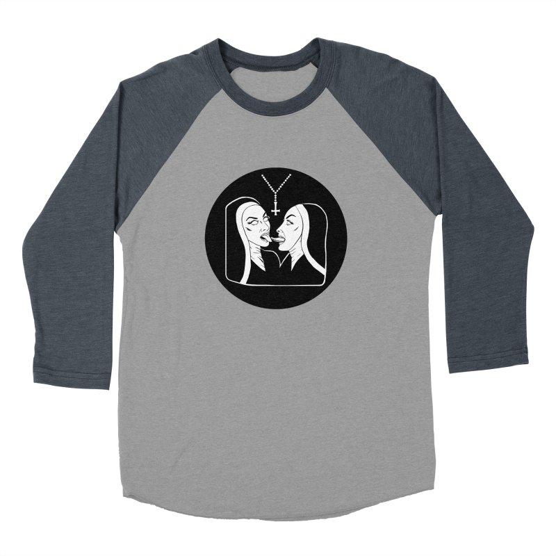 TONGUING NUNS CIRCLE Women's Baseball Triblend Longsleeve T-Shirt by Hate Baby Comix Artist Shop