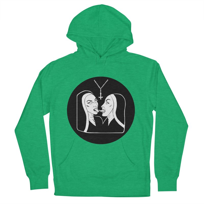 TONGUING NUNS CIRCLE Men's French Terry Pullover Hoody by Hate Baby Comix Artist Shop