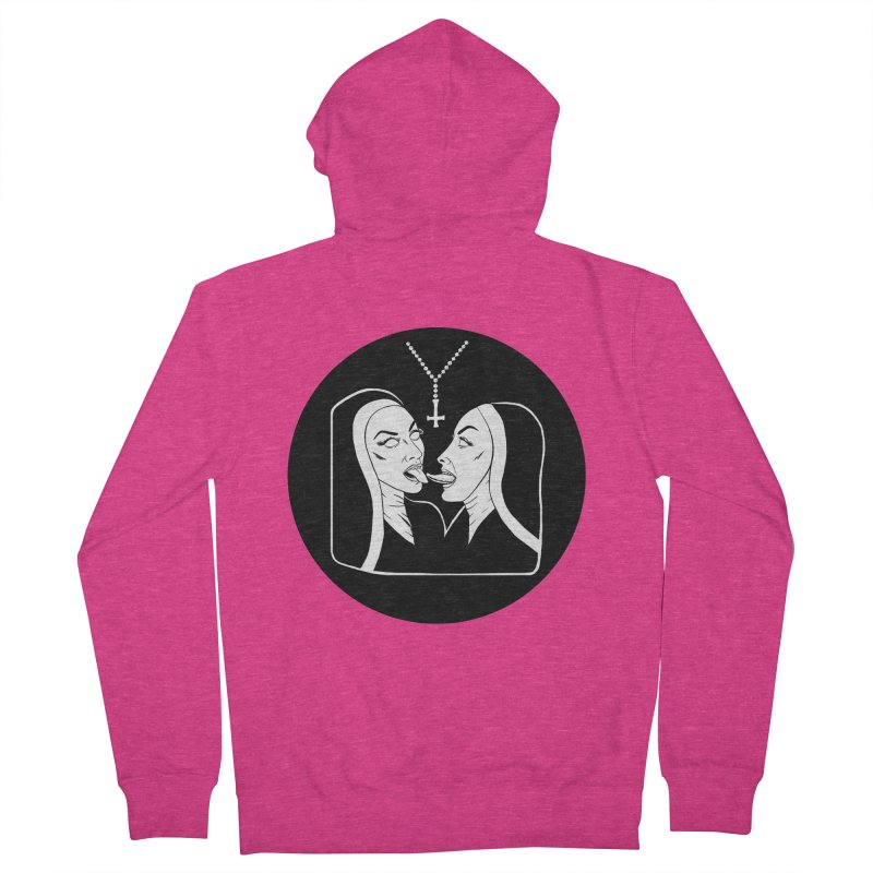TONGUING NUNS CIRCLE Women's French Terry Zip-Up Hoody by Hate Baby Comix Artist Shop