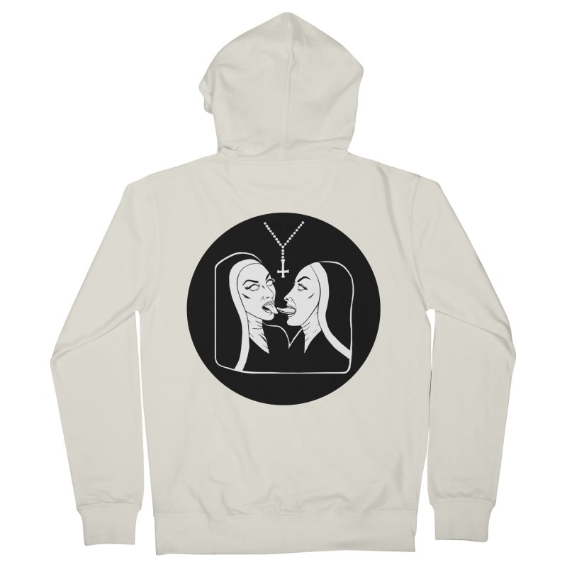 TONGUING NUNS CIRCLE Men's French Terry Zip-Up Hoody by Hate Baby Comix Artist Shop