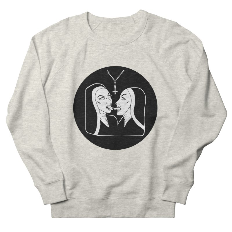 TONGUING NUNS CIRCLE Women's French Terry Sweatshirt by Hate Baby Comix Artist Shop