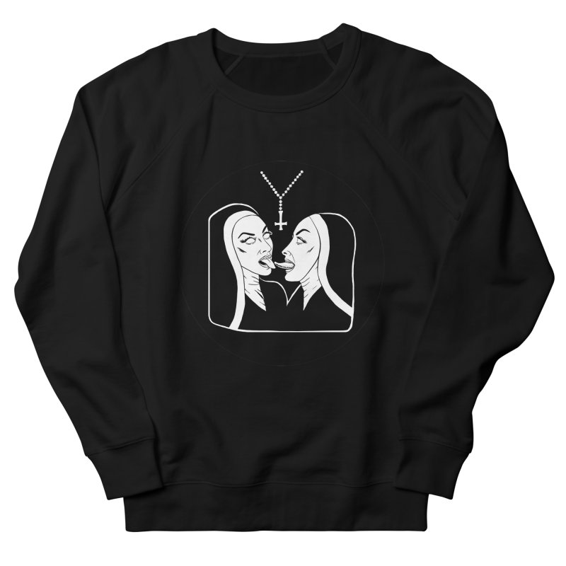 TONGUING NUNS CIRCLE Men's French Terry Sweatshirt by Hate Baby Comix Artist Shop
