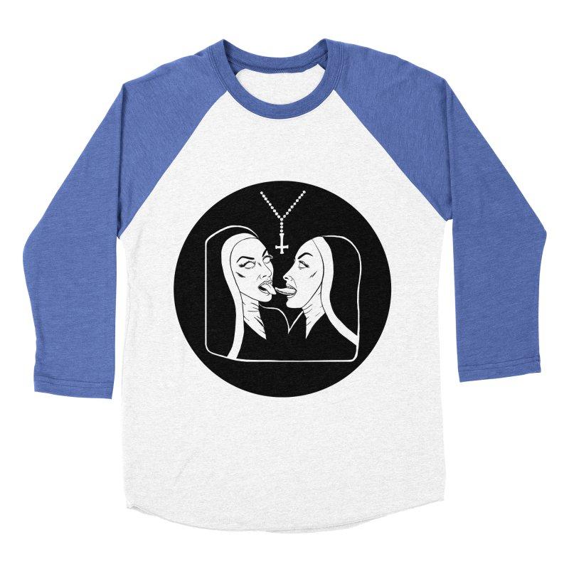 TONGUING NUNS CIRCLE Men's Baseball Triblend Longsleeve T-Shirt by Hate Baby Comix Artist Shop