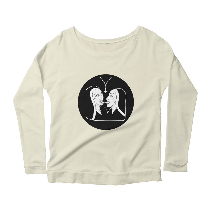 TONGUING NUNS CIRCLE Women's Scoop Neck Longsleeve T-Shirt by Hate Baby Comix Artist Shop