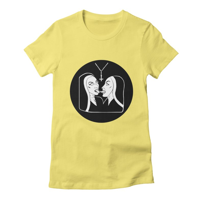 TONGUING NUNS CIRCLE Women's Fitted T-Shirt by Hate Baby Comix Artist Shop