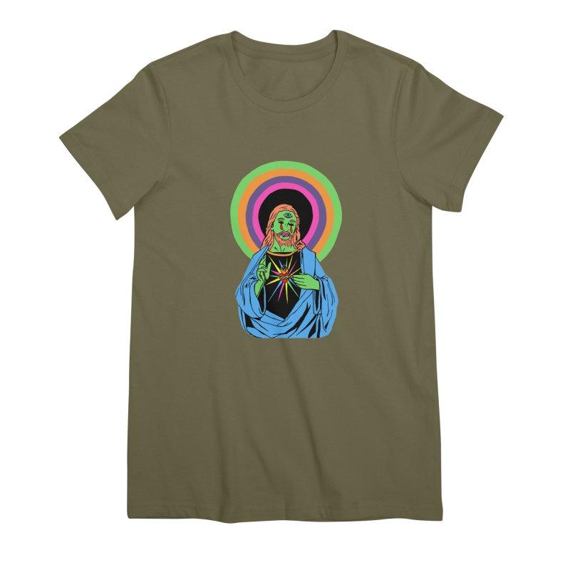 BLACKLIGHT JESUS Women's Premium T-Shirt by Hate Baby Comix Artist Shop