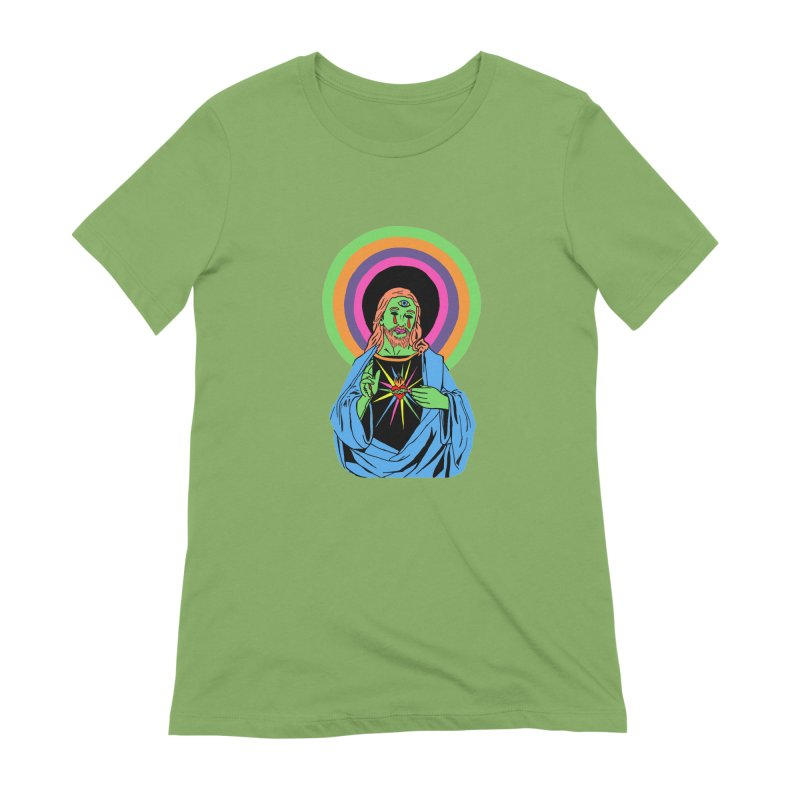 BLACKLIGHT JESUS Women's Extra Soft T-Shirt by Hate Baby Comix Artist Shop