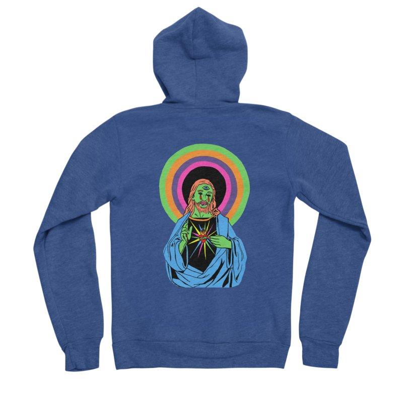 BLACKLIGHT JESUS Women's Sponge Fleece Zip-Up Hoody by Hate Baby Comix Artist Shop