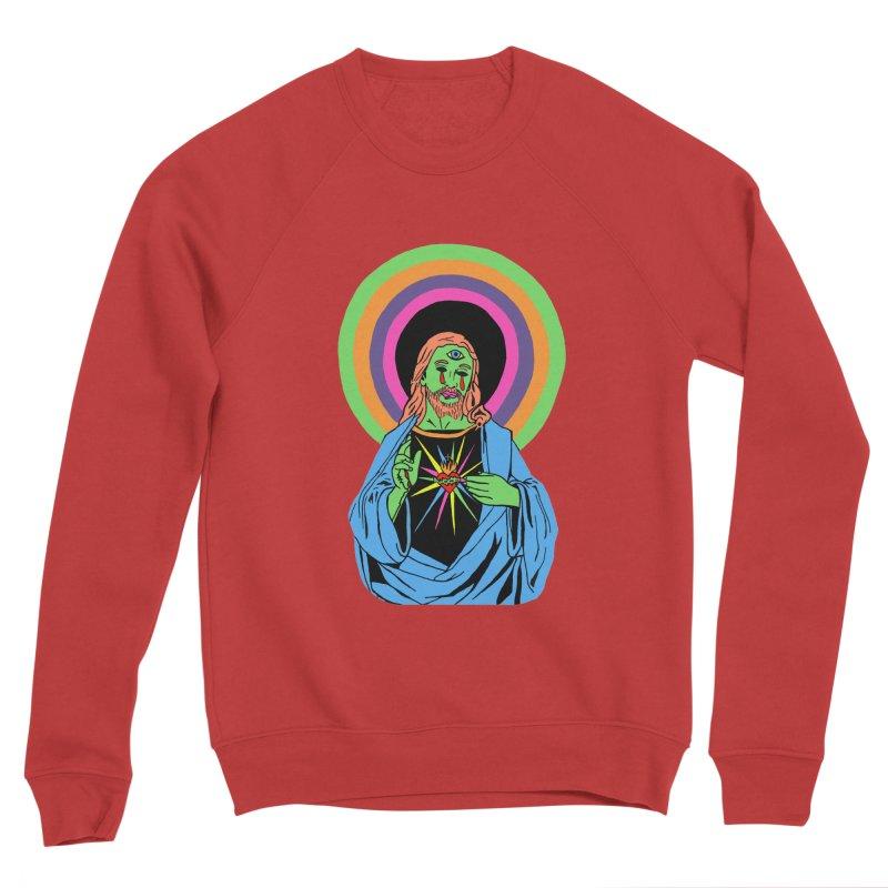 BLACKLIGHT JESUS Men's Sponge Fleece Sweatshirt by Hate Baby Comix Artist Shop