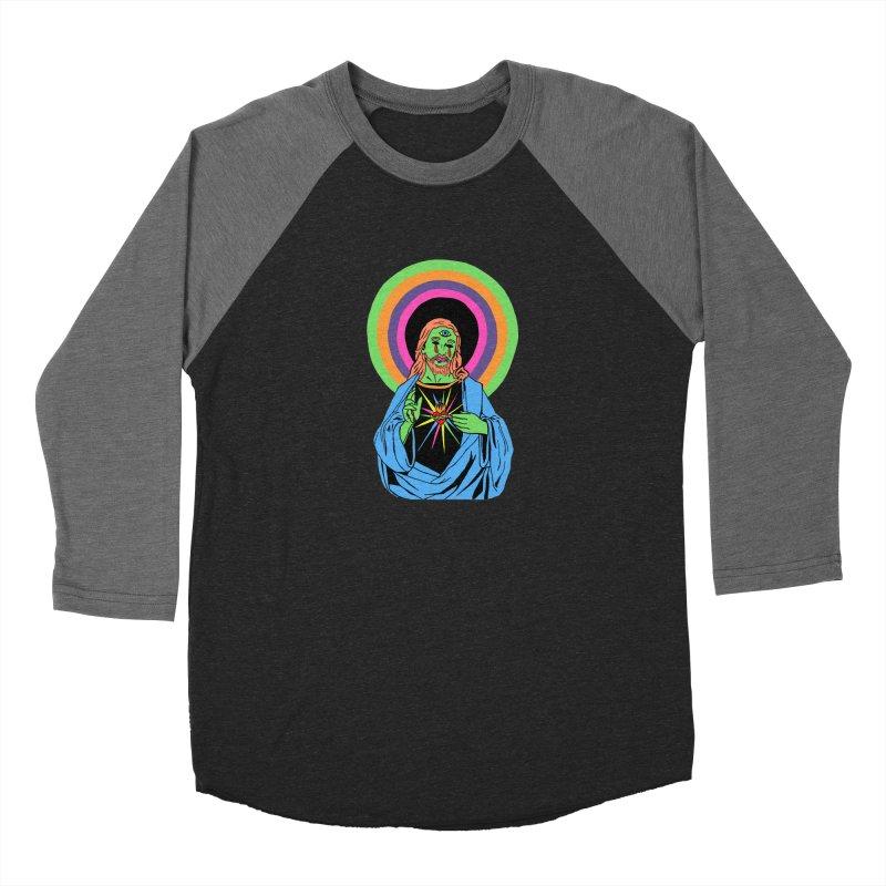 BLACKLIGHT JESUS Men's Baseball Triblend Longsleeve T-Shirt by Hate Baby Comix Artist Shop