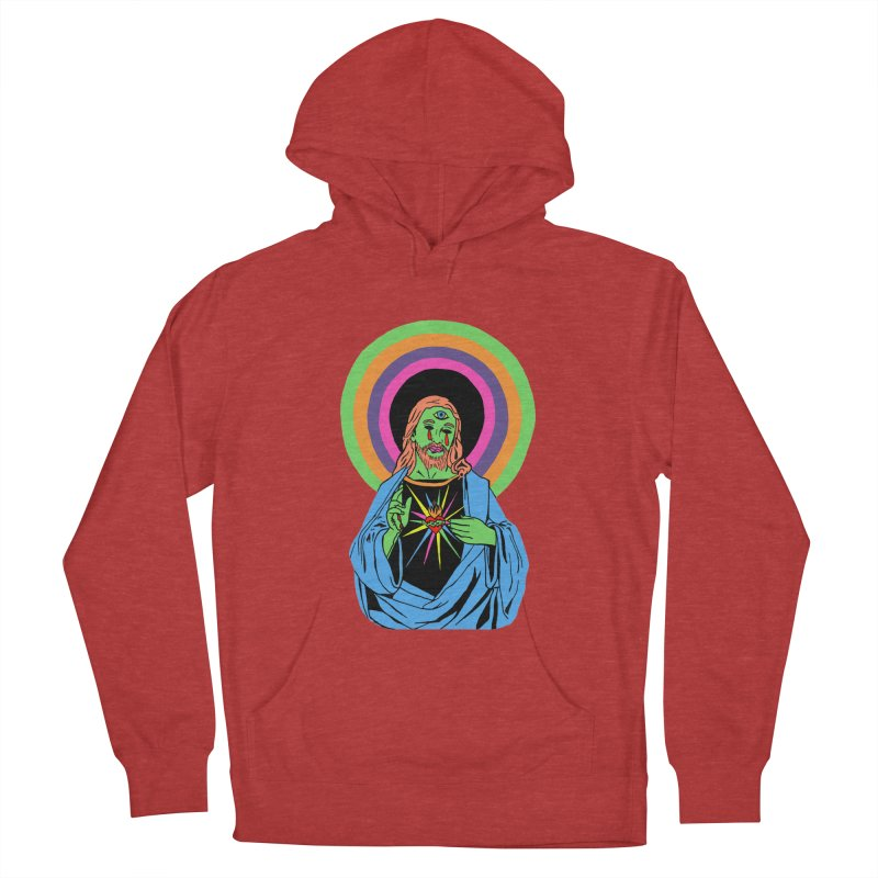 BLACKLIGHT JESUS Women's French Terry Pullover Hoody by Hate Baby Comix Artist Shop