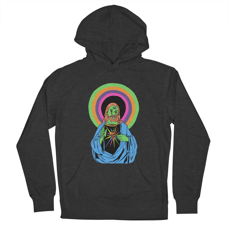 BLACKLIGHT JESUS Men's French Terry Pullover Hoody by Hate Baby Comix Artist Shop