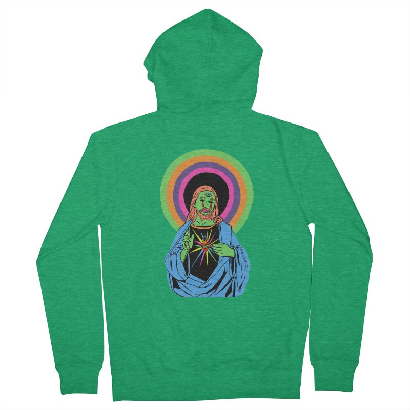 BLACKLIGHT JESUS Women's French Terry Zip-Up Hoody by Hate Baby Comix Artist Shop