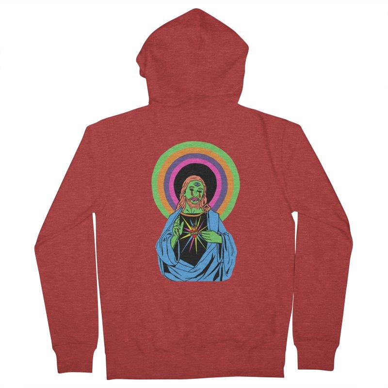 BLACKLIGHT JESUS Men's French Terry Zip-Up Hoody by Hate Baby Comix Artist Shop