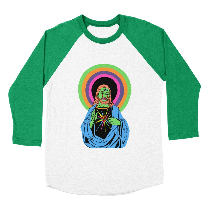 BLACKLIGHT JESUS Men's Baseball Triblend Longsleeve T-Shirt by Hate Baby Comix Artist Shop