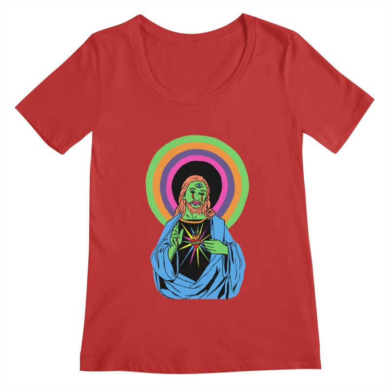 BLACKLIGHT JESUS Women's Regular Scoop Neck by Hate Baby Comix Artist Shop