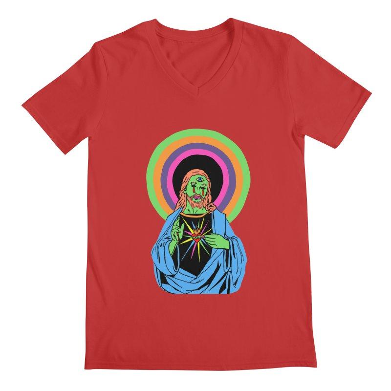 BLACKLIGHT JESUS Men's Regular V-Neck by Hate Baby Comix Artist Shop