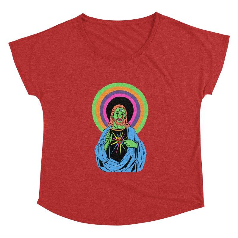 BLACKLIGHT JESUS Women's Dolman Scoop Neck by Hate Baby Comix Artist Shop