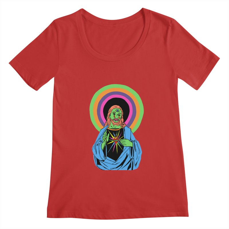 BLACKLIGHT JESUS Women's Regular Scoop Neck by Hate Baby Comix Artist Shop
