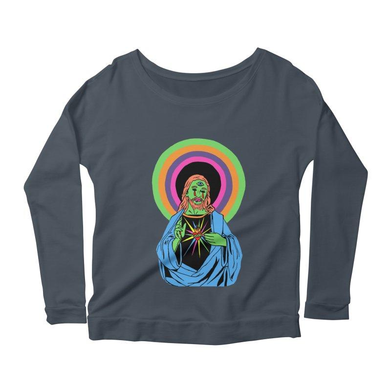 BLACKLIGHT JESUS Women's Scoop Neck Longsleeve T-Shirt by Hate Baby Comix Artist Shop