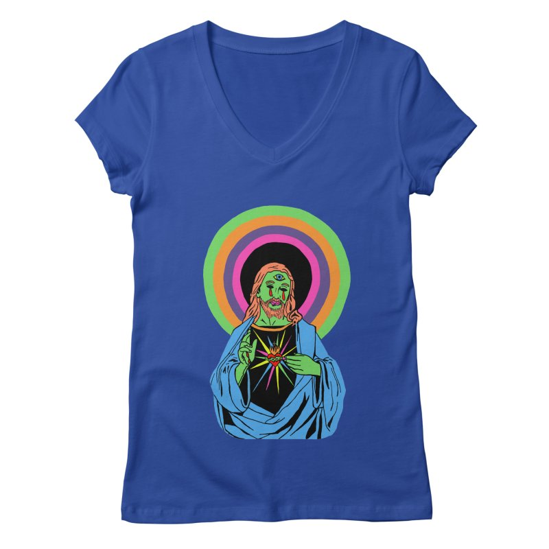 BLACKLIGHT JESUS Women's Regular V-Neck by Hate Baby Comix Artist Shop