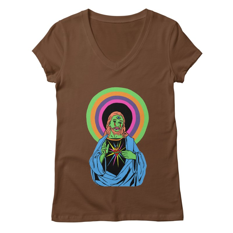 BLACKLIGHT JESUS Women's Regular V-Neck by Hate Baby Comix Artist Shop
