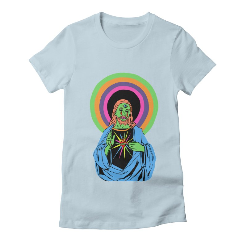 BLACKLIGHT JESUS Women's Fitted T-Shirt by Hate Baby Comix Artist Shop
