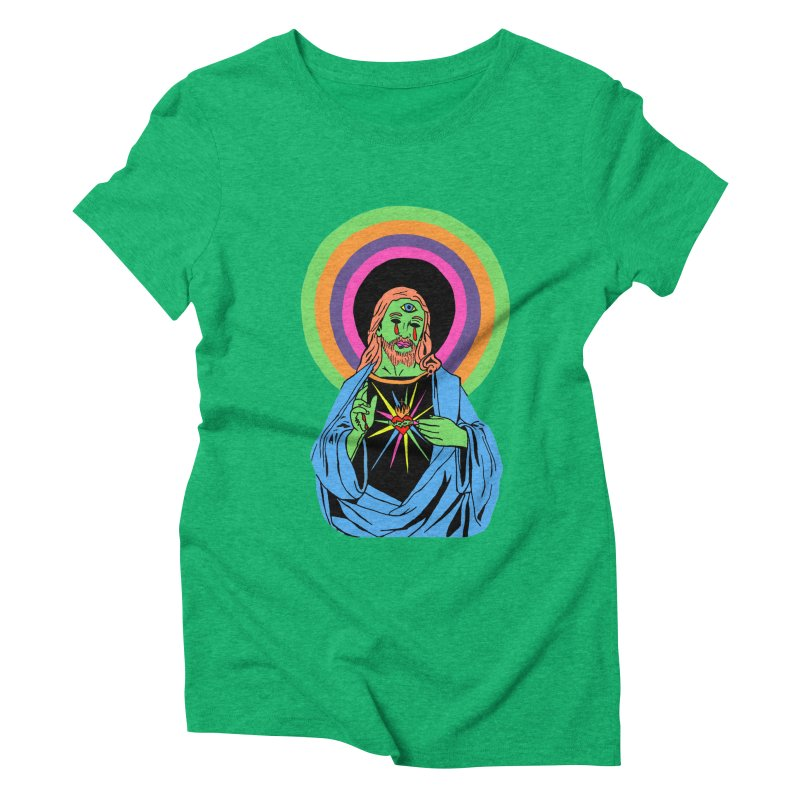 BLACKLIGHT JESUS Women's Triblend T-Shirt by Hate Baby Comix Artist Shop
