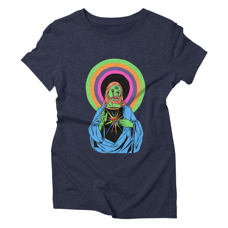 BLACKLIGHT JESUS Women's Triblend T-Shirt by Hate Baby Comix Artist Shop