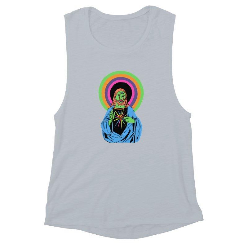 BLACKLIGHT JESUS Women's Muscle Tank by Hate Baby Comix Artist Shop
