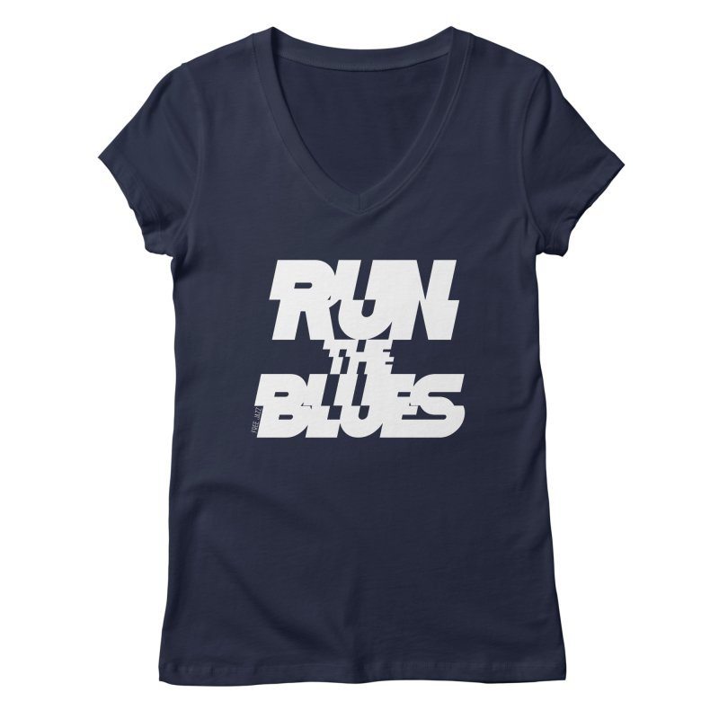 Run The Blues Women's V-Neck by Cornerstore Classics