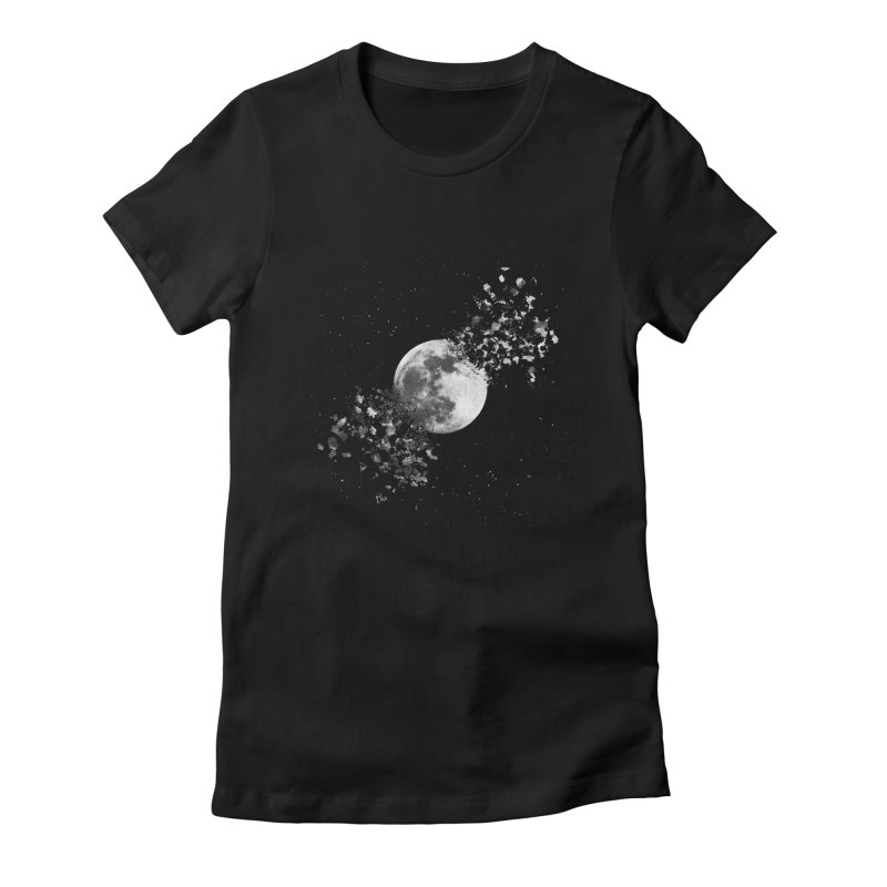 Moon Explosion Women's Fitted T-Shirt by Corsac's Artist Shop