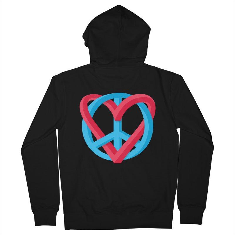 Peace + Love Men's Zip-Up Hoody by Corsac's Artist Shop