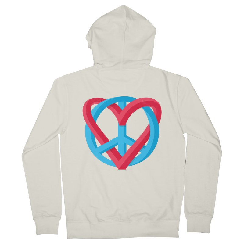Peace + Love Men's Zip-Up Hoody by Corsac's Artist Shop