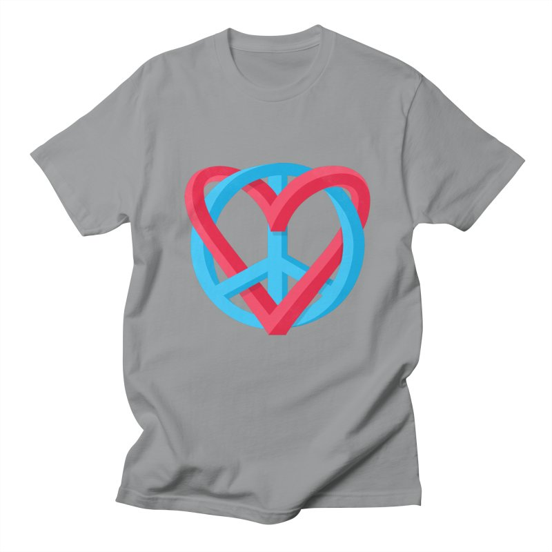 Peace + Love Men's T-Shirt by Corsac's Artist Shop