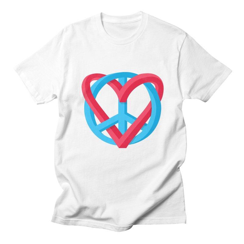 Peace + Love Men's Regular T-Shirt by Corsac's Artist Shop