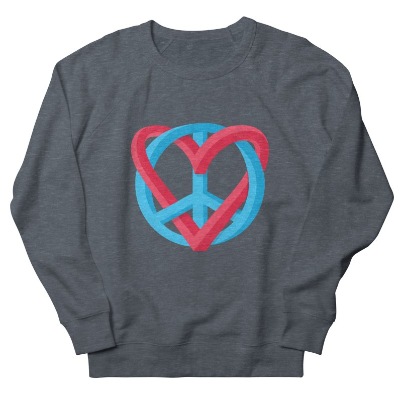 Peace + Love Men's French Terry Sweatshirt by Corsac's Artist Shop