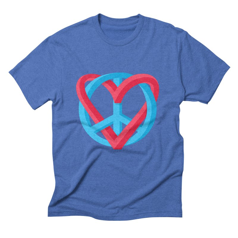 Peace + Love Men's Triblend T-Shirt by Corsac's Artist Shop