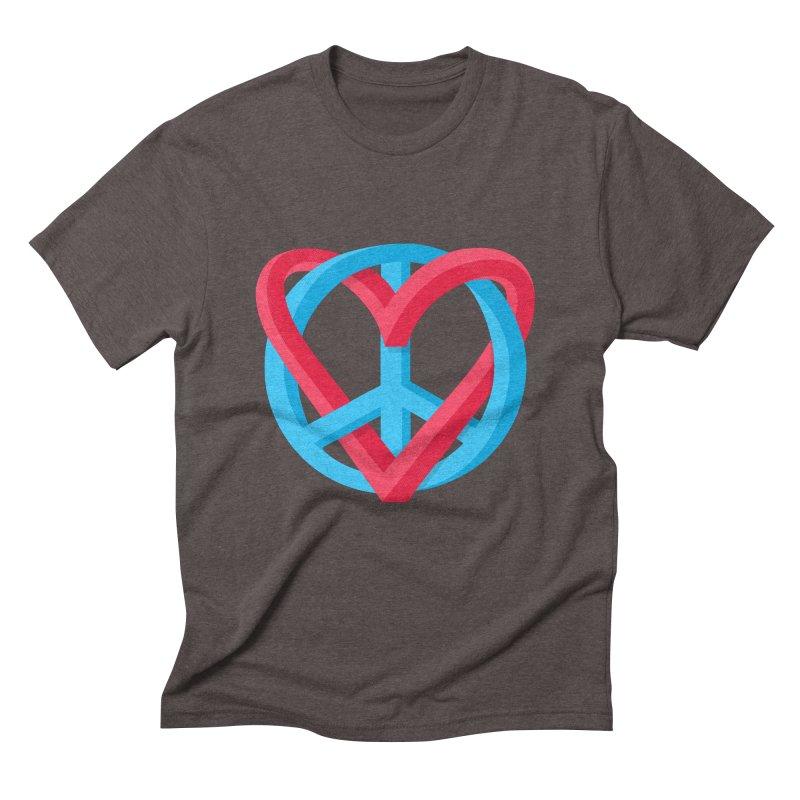 Peace + Love Men's Triblend T-Shirt by Corsac's Artist Shop