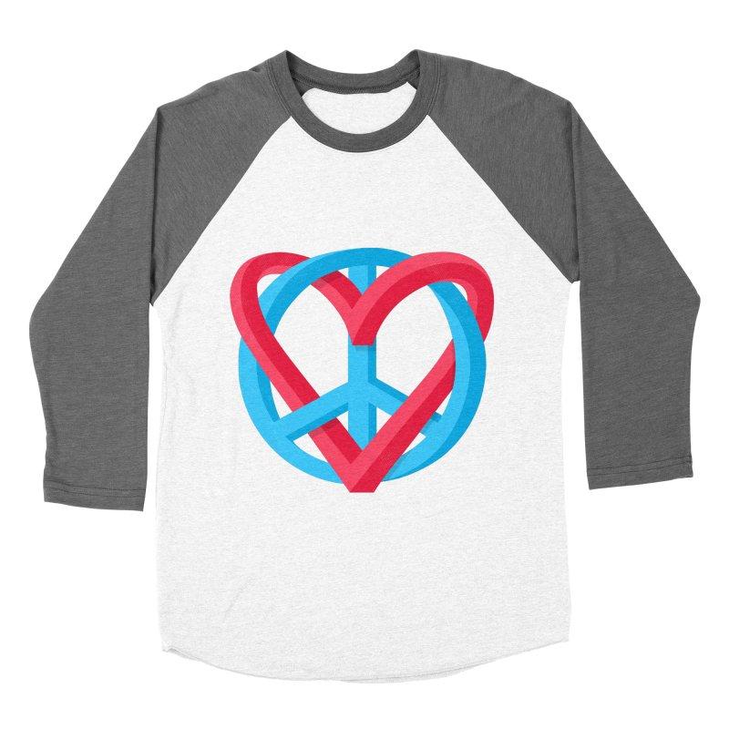 Peace + Love Women's Baseball Triblend T-Shirt by Corsac's Artist Shop