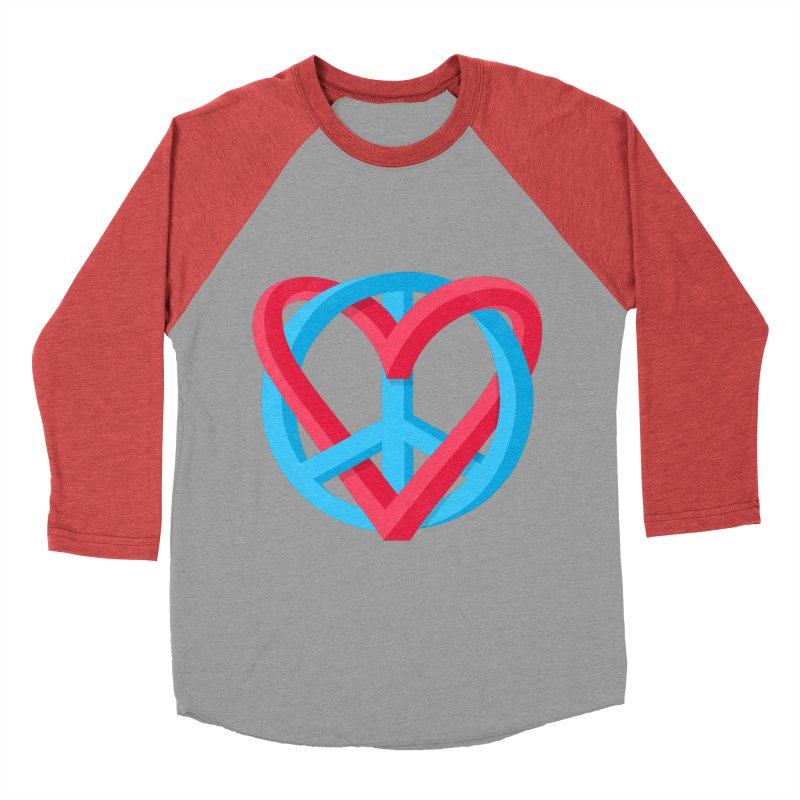 Peace + Love Men's Baseball Triblend Longsleeve T-Shirt by Corsac's Artist Shop