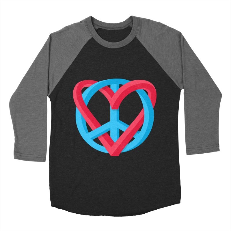 Peace + Love Men's Baseball Triblend T-Shirt by Corsac's Artist Shop