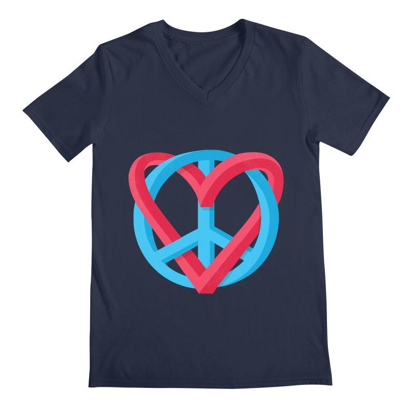 Peace + Love Men's Regular V-Neck by Corsac's Artist Shop