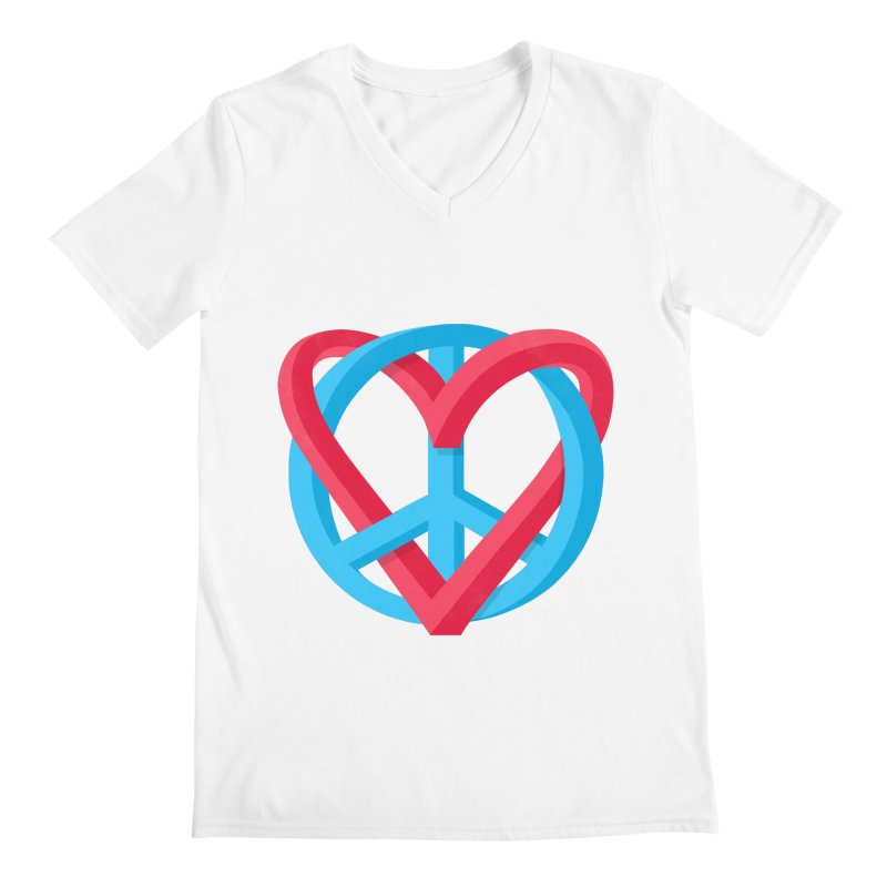 Peace + Love Men's V-Neck by Corsac's Artist Shop