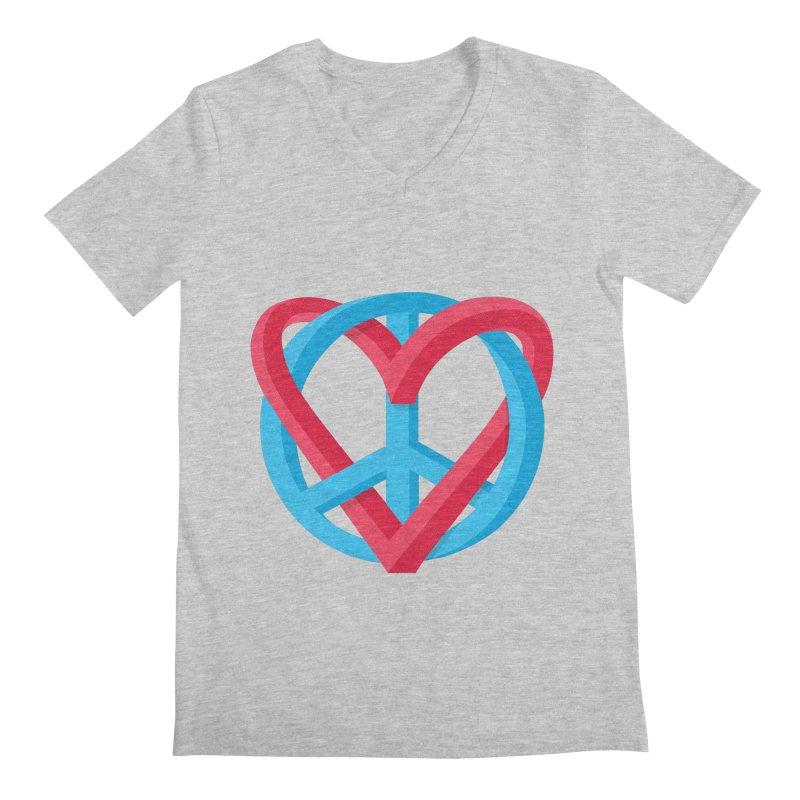 Peace + Love Men's V-Neck by Corsac's Artist Shop