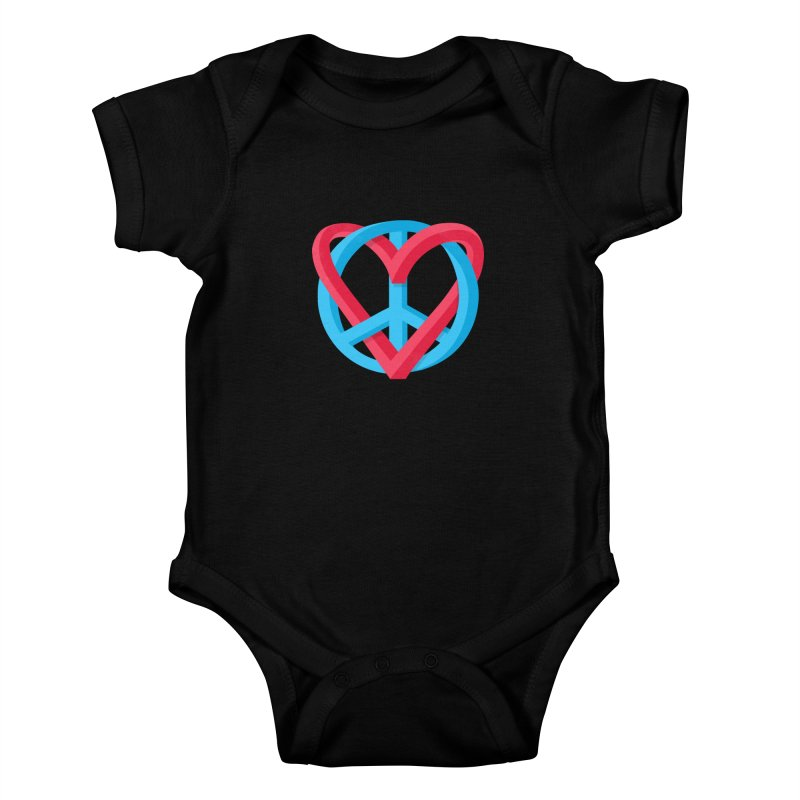 Peace + Love Kids Baby Bodysuit by Corsac's Artist Shop