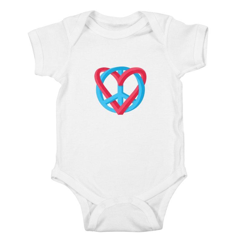 Peace + Love Kids Baby Bodysuit by Corsac's Artist Shop